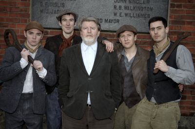 The Titanic Boys with playwright Martin Lynch l-r Terry Keeley, Ciaran Nolan, Martin Lynch, Michael Lavery and Brian Markey